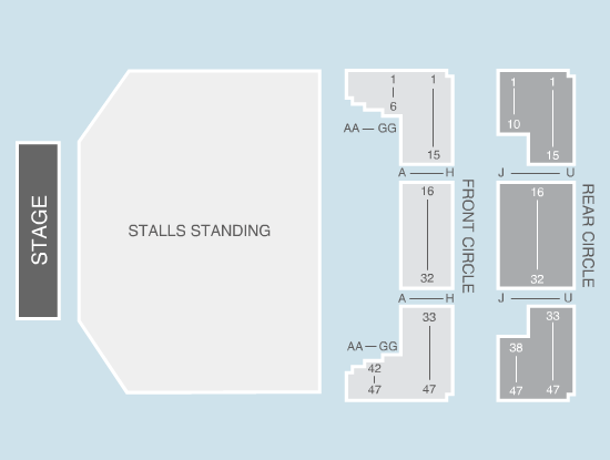 standing Seating Plan at Manchester Apollo