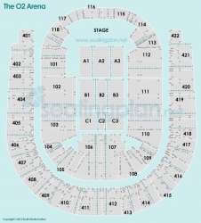 Detailed Seating Plan at The O2 Arena