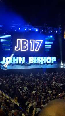 View of John bishop from Seat Block 208 at FlyDSA Arena (Sheffield Arena)