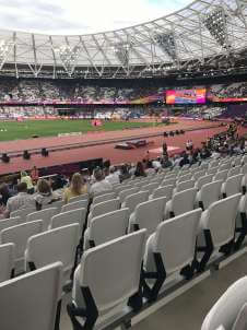 View of World athletics championships  from Seat Block 105 at Queen Elizabeth Olympic Park